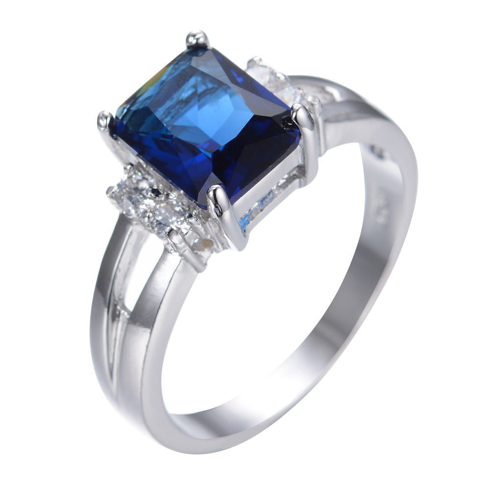 GORGEOUS BLUE SAPPHIRE SILVER WEDDING RING 10KT WHITE GOLD FILLED US 5-10  (UK J1/2-T1/2)