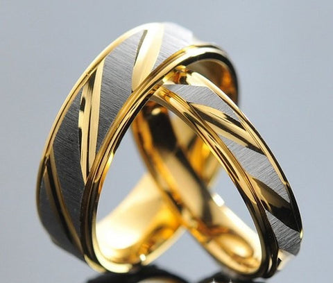 Gorgeous His & Hers Couple Rings in Stunning Stainless Steel Golden Bands US 5-13 (UK: J 1/2 - Z+1)