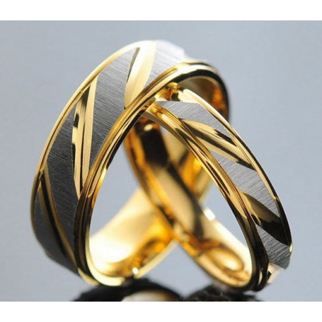 Rings - Gorgeous His & Hers Couple Rings In Lasting Stunning Stainless Steel Golden Bands (Limited Supply) US 5-13 (UK: J 1/2 - Y+)