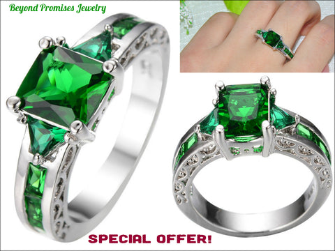 Gorgeous Princess Cut Green Emerald Dress Ring 10KT White Gold Filled US 6-10 (UK: M-T1/2)