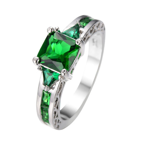 Rings - Gorgeous Princess Cut Green Emerald Dress Ring 10KT White Gold Filled US 6-10 (UK: M-T1/2)