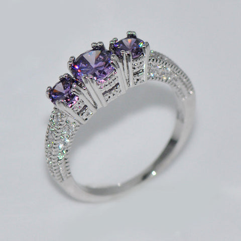 GORGEOUS PURPLE AMETHYST SILVER WEDDING RING 10KT WHITE GOLD FILLED US 5-12 (UK J1/2-Y)