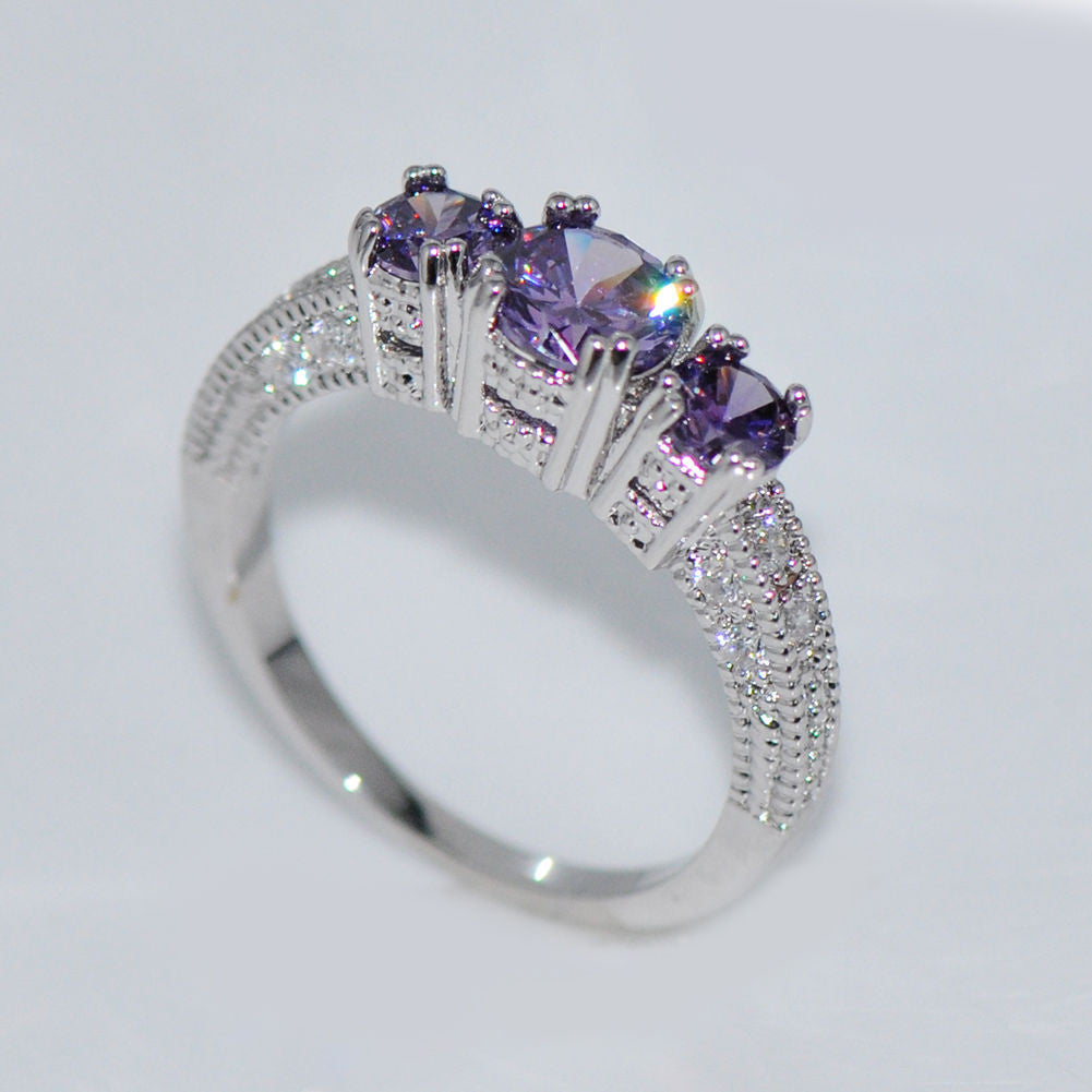 cocktail ct gemstone gold diamond wh ring rings purple amethyst white