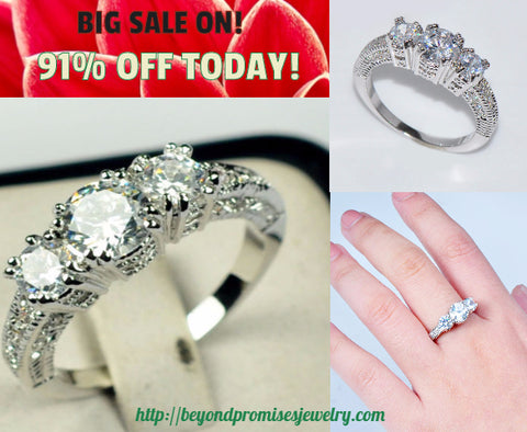 Rings - GORGEOUS WHITE SAPPHIRE SILVER WEDDING RING 10KT WHITE GOLD FILLED US 5-12 (UK J1/2-Y)