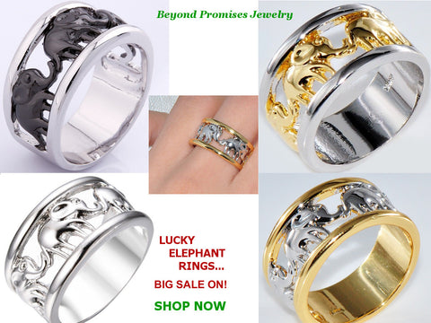 Rings - Lucky Unisex Elephant Rings Wedding Band 10KT Gold Filled US Size 6-10 (UK M- T1/2)