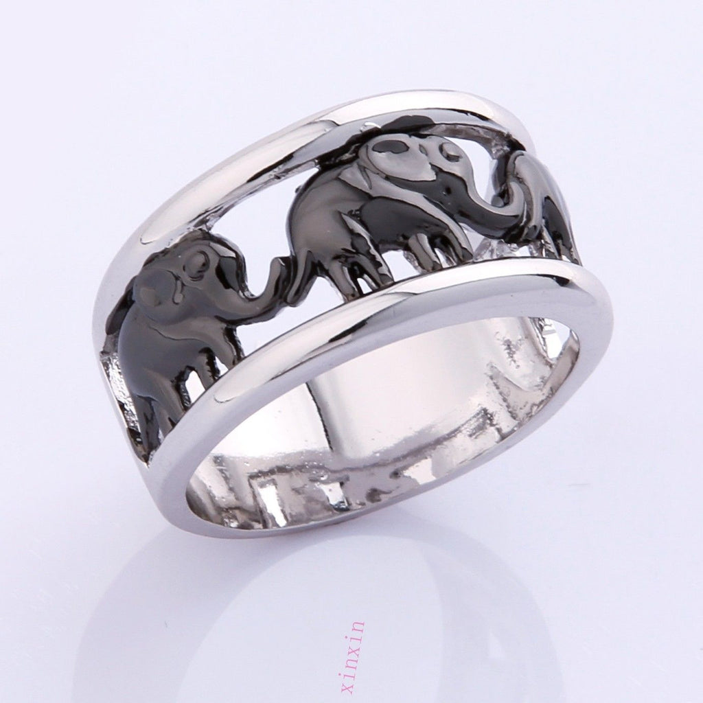 exclusive rings jewelry three tone engagement large plated elephant