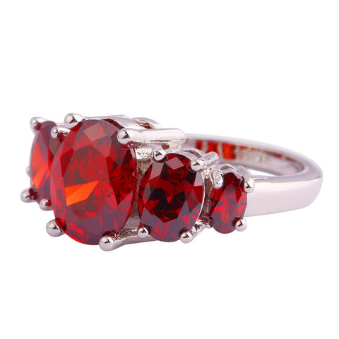 Rings - New Fashion Pretty 925 Silver Inlay Garnet Ring Gift For Women USA Size 6 -13. Free Shipping!