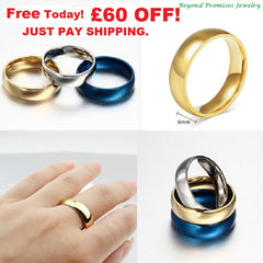 Rings - NEW GORGEOUS WOMEN MEN WEDDING BANDS SILVER GOLD BLUE US: 5-14 (UK:J1/2-Z+2)