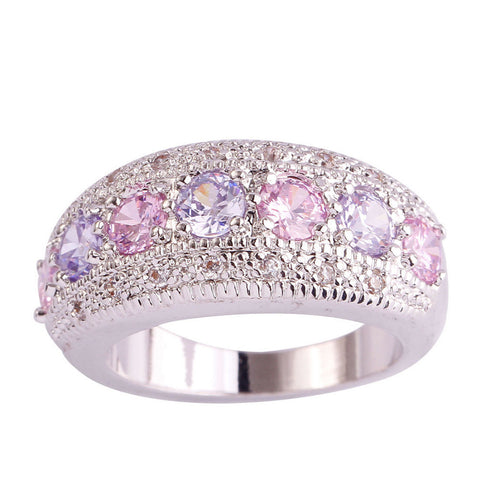 Rings - SIMPLY BEAUTIFUL! EXQUISITE PINK & WHITE SAPPHIRE SILVER BAND RING (USA SIZES 6-12)- FREE SHIPPING!