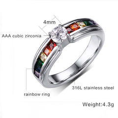 STUNNING RAINBOW WEDDING RING WITH ZIRCON AUSTRIAN CRYSTAL US 5-11 (UK J1/2-V1/2)