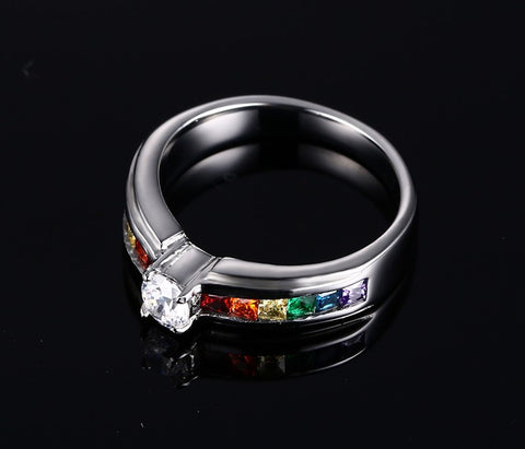 Rings - STUNNING RAINBOW WEDDING RING WITH ZIRCON AUSTRIAN CRYSTAL US 5-11 (UK J1/2-V1/2)