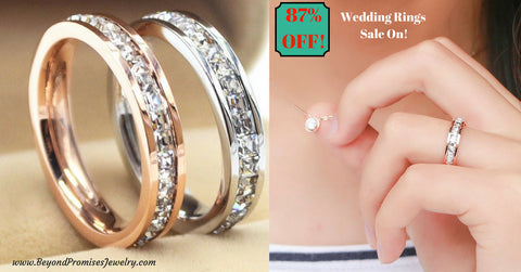 Rings - Stunning Silver/ Rose Gold Unisex Wedding Bands Size US 3-10 (UK F-T1/2) - 87% OFF!