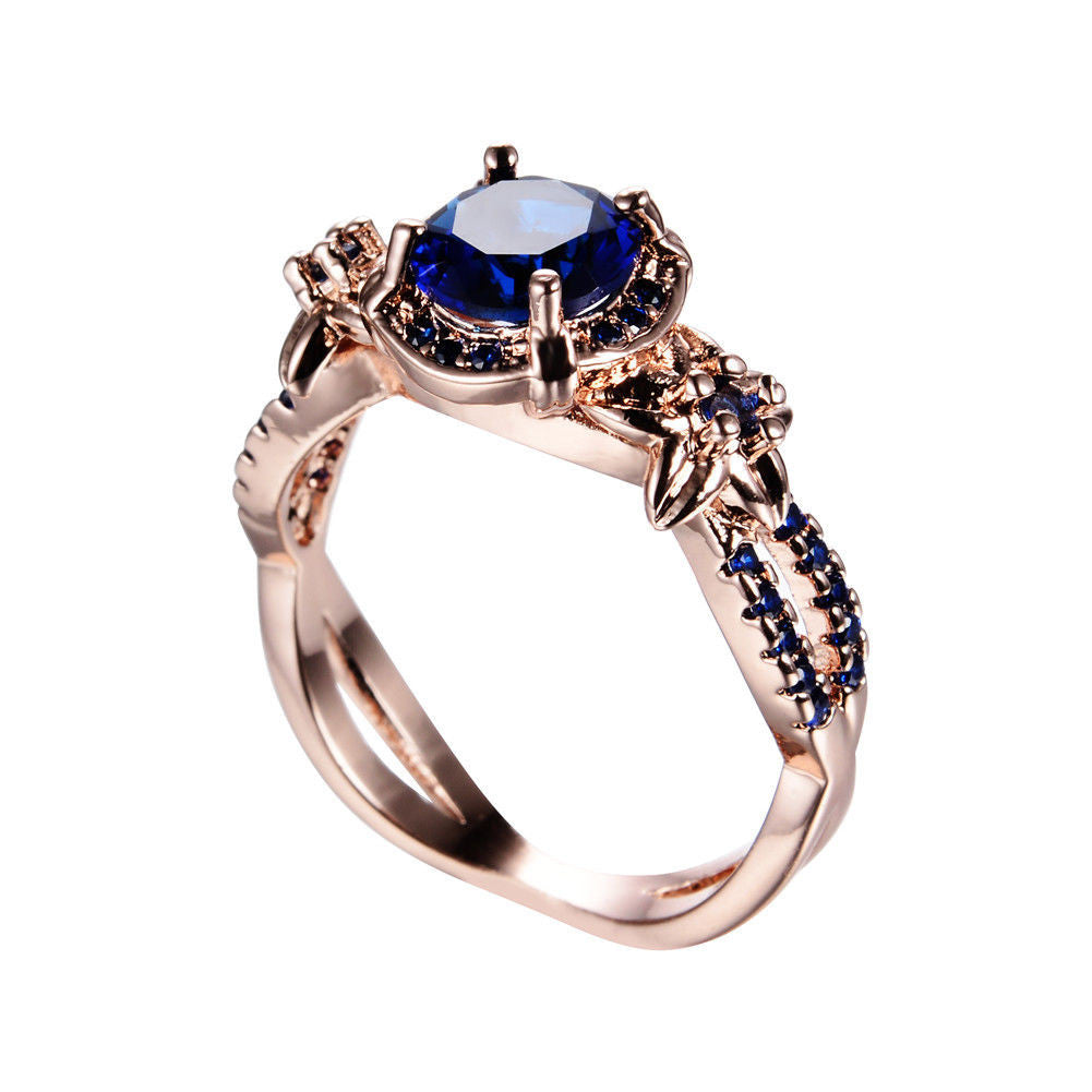 ... Rings   Vintage Blue Sapphire Wedding Ring 10KT Yellow Gold Filled US  Size 5 11 ...