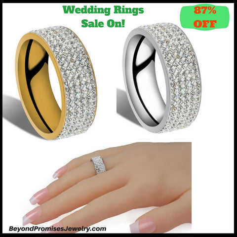 Gorgeous 5 Row Crystal Silver/ Gold Unisex Wedding Ring Size US 6-10 (UK M-T1/2) - 87% OFF!