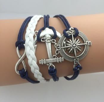 Vintage Infinity Bracelets - **FREE** WHEEL ANCHOR BLUE INFINITY BRACELET- JUST PAY SHIPPING!