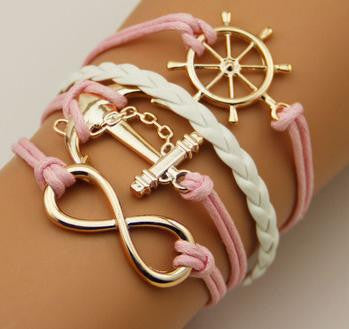 Vintage Infinity Bracelets - **FREE** WHEEL ANCHOR PINK INFINITY BRACELET- JUST PAY SHIPPING