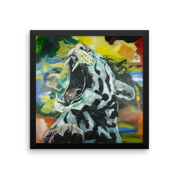White Tiger Framed photo paper poster