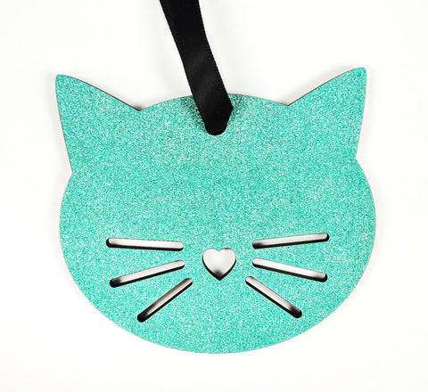 Teal Glitter Cat Wood Ornament
