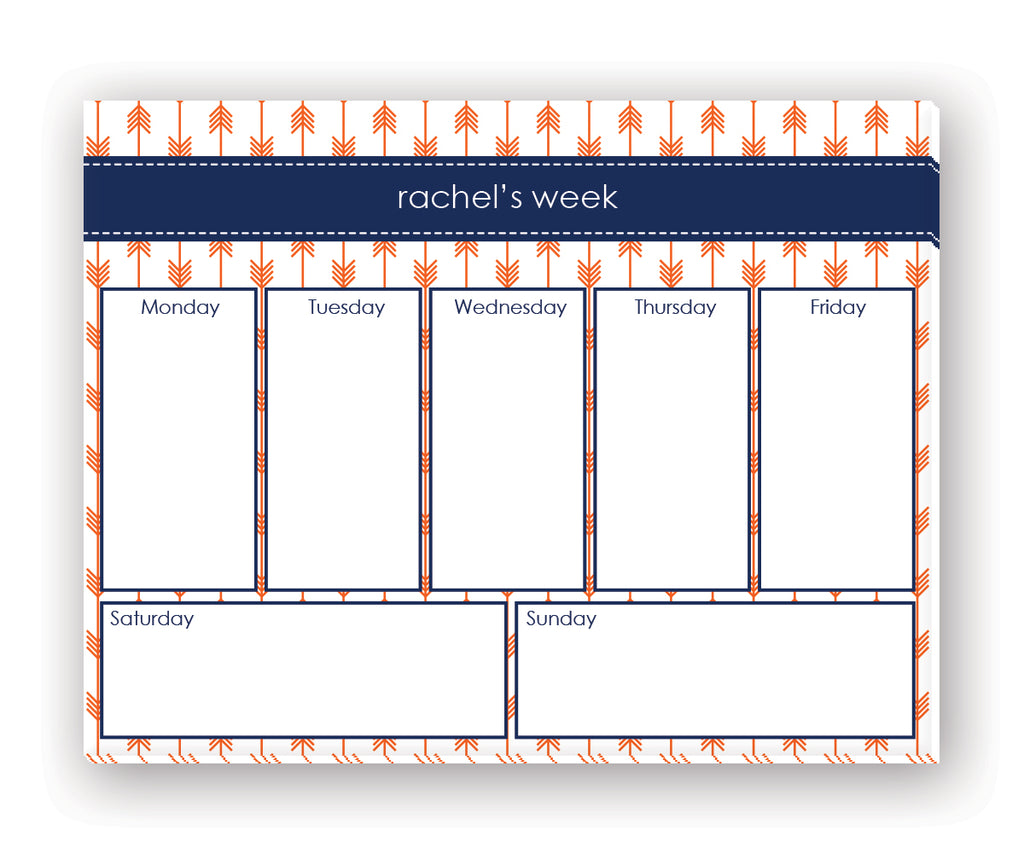 Orange and Navy Arrows 8.5x11 Desk Pad