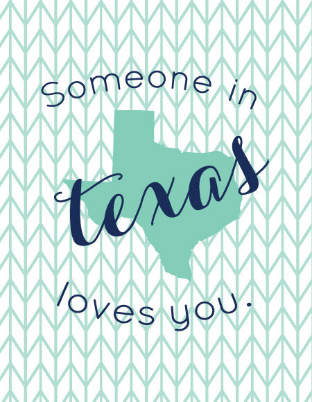 "Mint and Navy ""Someone Loves You"" State Greeting Card"