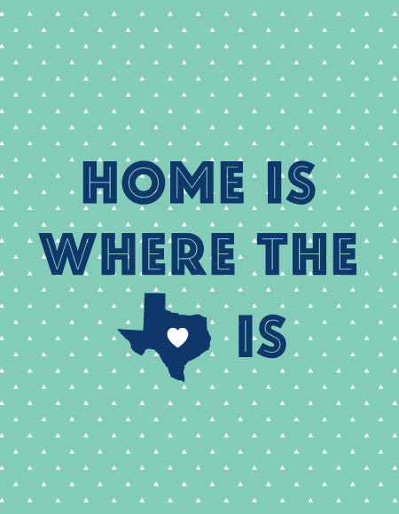 "Mint and Navy ""Home is Where the Heart is"" State Greeting Card"