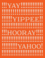 """Yay! Yippee! Hooray! Yahoo!"" Greeting Card (GC45AP133)"