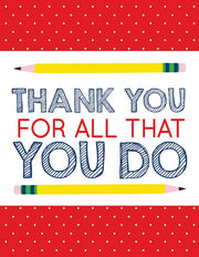 """Thank you for all that you do Teacher"" Greeting Card (GC45AP3030)"