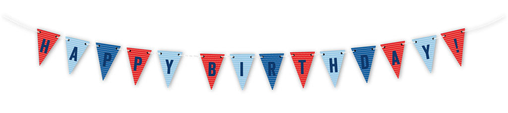 Red & Blue Happy Birthday Pennant Banner