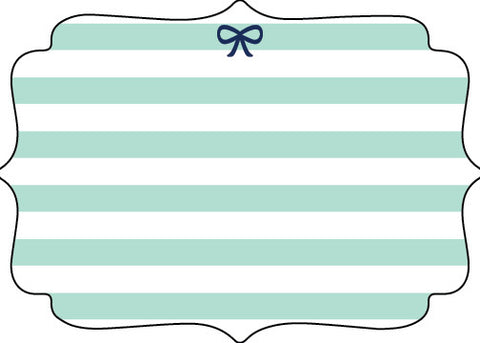Mint and Navy Bow Die Cut Stationery - Pack of 8