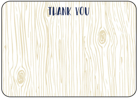 Thank You Woodgrain Die Cut Stationery (pack of 8)