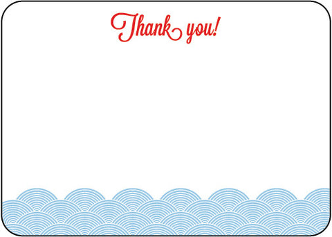 Light Blue Waves Thank You Die Cut Stationery - Pack of 8