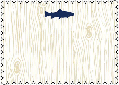 Wood Grain Navy Fish Die Cut Stationery (pack of 8)