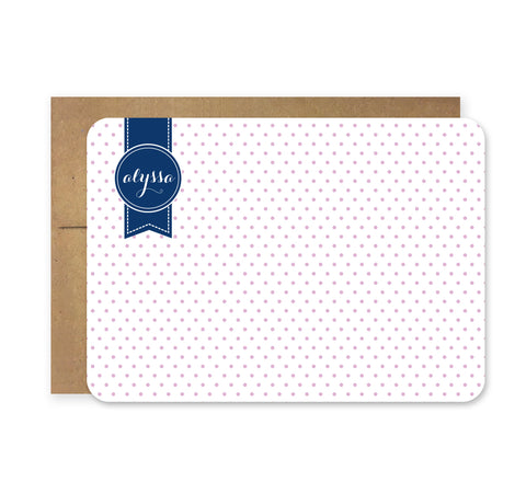 Lavender and Navy Needlepoint Die Cut Stationery