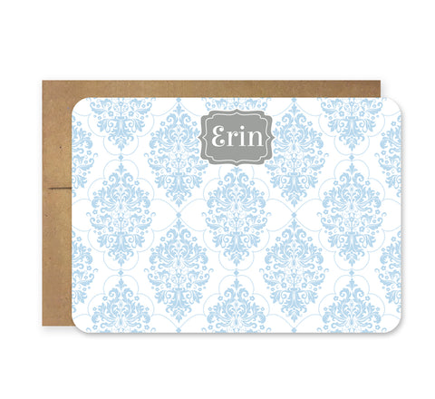 Light Blue and Gray Chandelier Die Cut Stationery