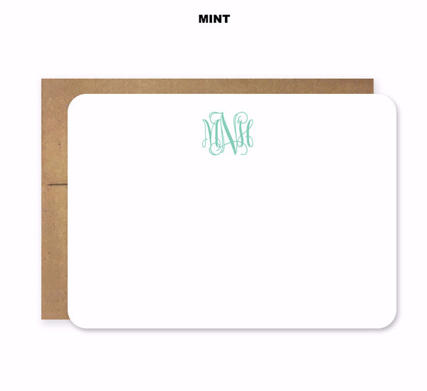 Vine Monogram Die Cut Stationery