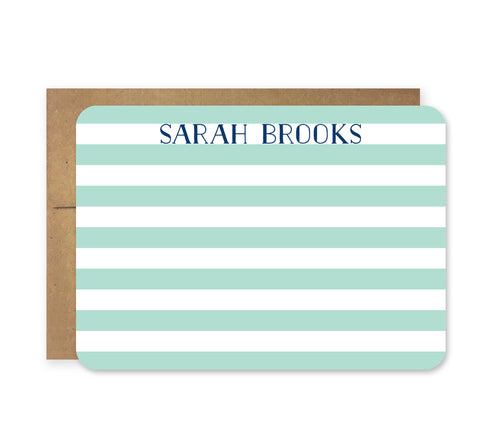 Mint and Navy Stripe Die Cut Stationery