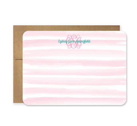 Light Pink and Teal Watercolor Die Cut Stationery