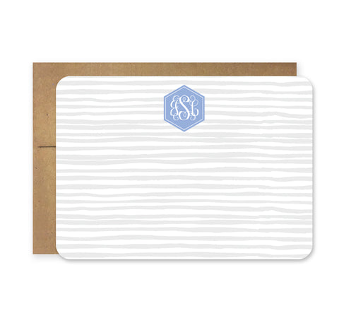Gray and Periwinkle Weaving Die Cut Stationery