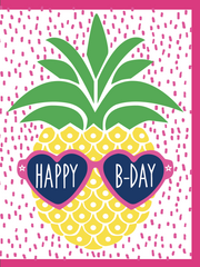"""Pineapple Happy Birthday"" - Greeting Card with COLORED ENVELOPE(GC45AP2087C)"