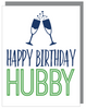 """Happy Birthday Hubby"" Happy Birthday Greeting Card with COLORED Envelope (GC45AP2096C)"