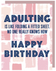 """Adulting is like folding a fitted sheet...Happy Birthday"" Greeting Card with COLORED Envelope (GC45AP3011C)"