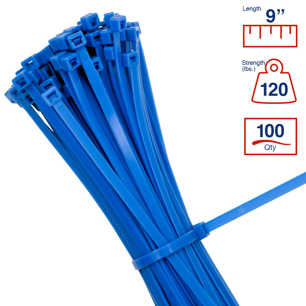 BCT 9 Inch 120 lb Cable Ties - Light Heavy Duty Industrial/Home Use - Bag of 100 - Blue - Zip Ties - Y81206C