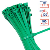 BCT 14 Inch 120 lb Cable Ties - Light Heavy Duty Industrial/Home Use - Bag of 100 - Green - Zip Ties - Y141205C