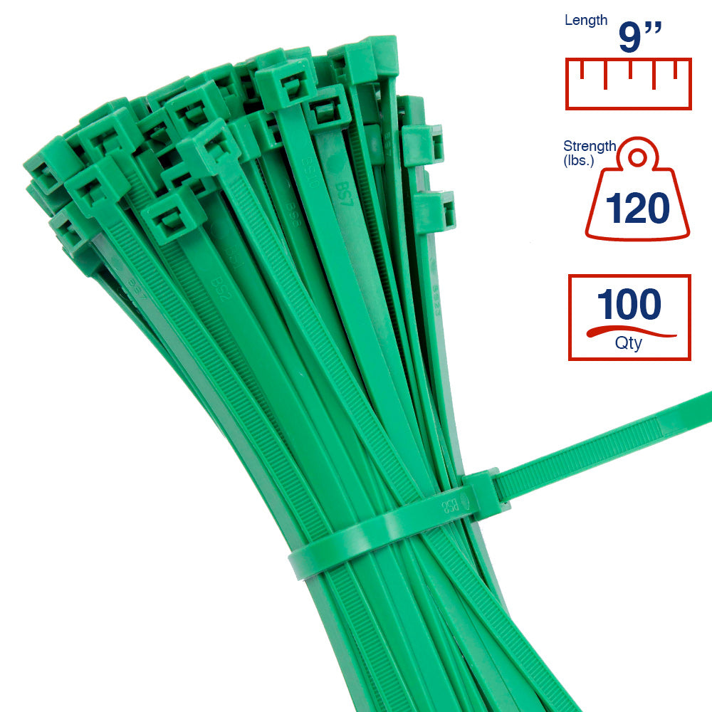 BCT 9 Inch 120 lb Cable Ties - Light Heavy Duty Industrial/Home Use - Bag of 100 - Green - Zip Ties - Y81205C