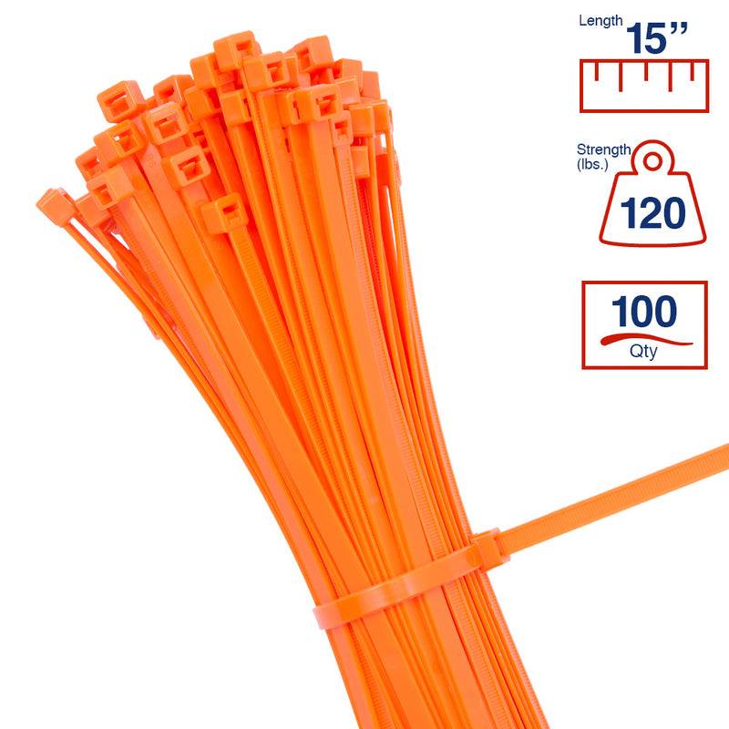 BCT 14 Inch 120 lb Cable Ties - Light Heavy Duty Industrial/Home Use - Bag of 100 - Orange - Zip Ties - Y141203C
