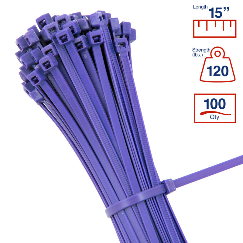 BCT 14 Inch 120 lb Cable Ties - Light Heavy Duty Industrial/Home Use - Bag of 100 - Multiple Colors