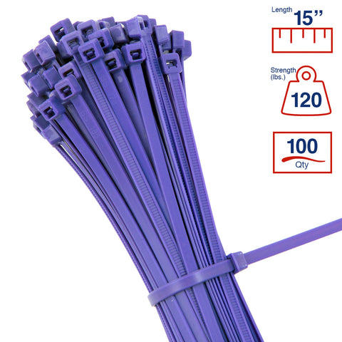 BCT 14 Inch 120 lb Cable Ties - Light Heavy Duty Industrial/Home Use - Bag of 100 - Purple - Zip Ties - Y141207C