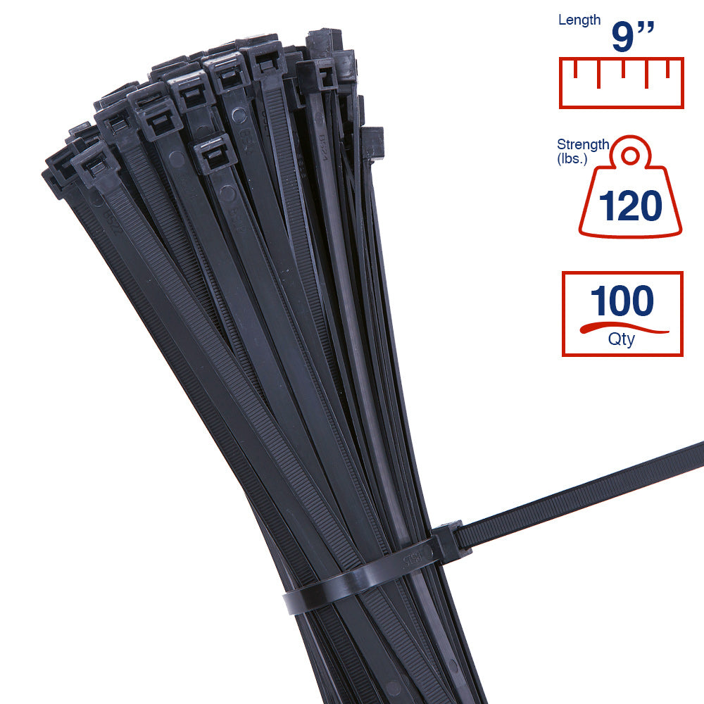 BCT 9 Inch 120 lb Cable Ties - Light Heavy Duty Industrial/Home Use - Bag of 100 - UV Black - Zip Ties - Y81200C