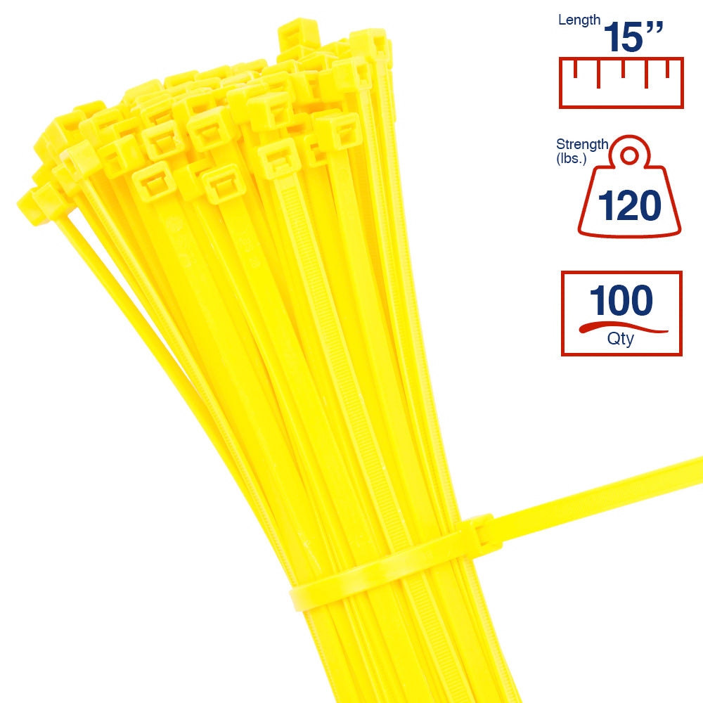 BCT 14 Inch 120 lb Cable Ties - Light Heavy Duty Industrial/Home Use - Bag of 100 - Yellow - Zip Ties - Y141204C