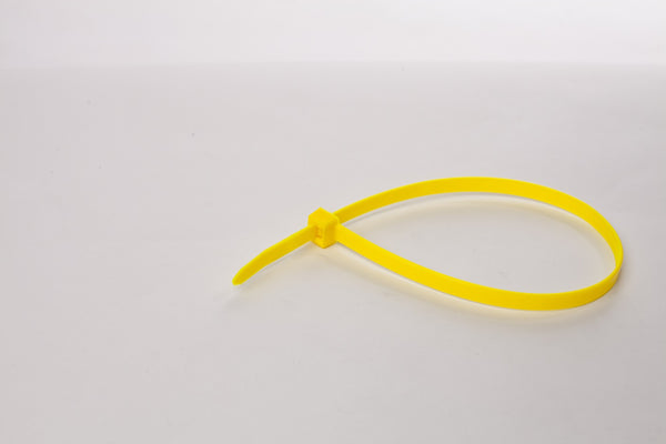 BCT 9 Inch 120 lb Cable Ties - Light Heavy Duty Industrial/Home Use - Bag of 100 - Yellow - Zip Ties - Y81204C